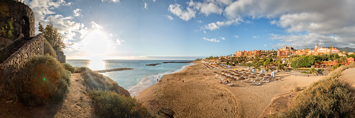 tenerife spain canon beach panormama pano sun sunset sky clouds travel