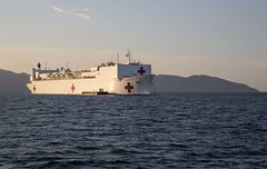 USNS Mercy (T-AH 19) sits at anchor off the coast of Da Nang, Vietnam during Pacific Partnership. (U.S. Marine Corps/Sgt. Valerie Epler)