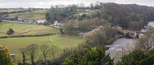 green castle beautiful grass river countryside view yorkshire richmond greenery serene