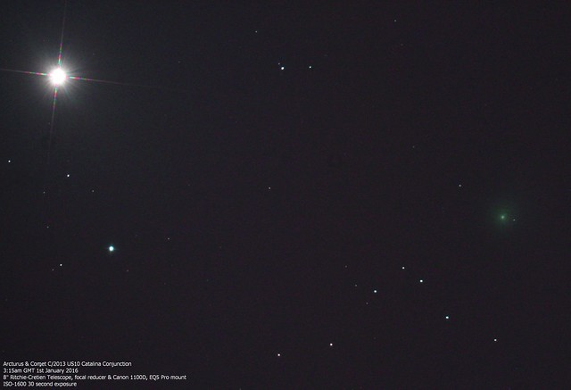 Arcturus & C/2013 US10 Catalina Conjunction 3:15am 01/01/16 (Explored)