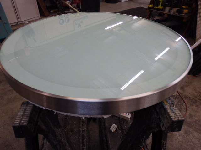 67 - Glass Table Top with internal  LED lights, Brushed Stainless Steel Edge Trim