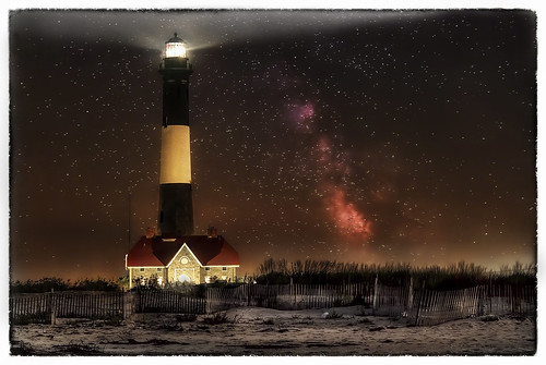 ocean park county new york light summer lighthouse tower robert beach water composite night way stars landscape island fire suffolk sand long nightscape state atlantic moses oceanside milky beacon hdr oceanfront