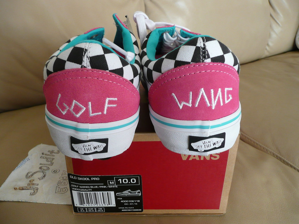 5fd28480b2b725 Golf Wang x Vans Old Skool Pro Size 10 Blue Pink White checkerboard 2015  OFWGKTA