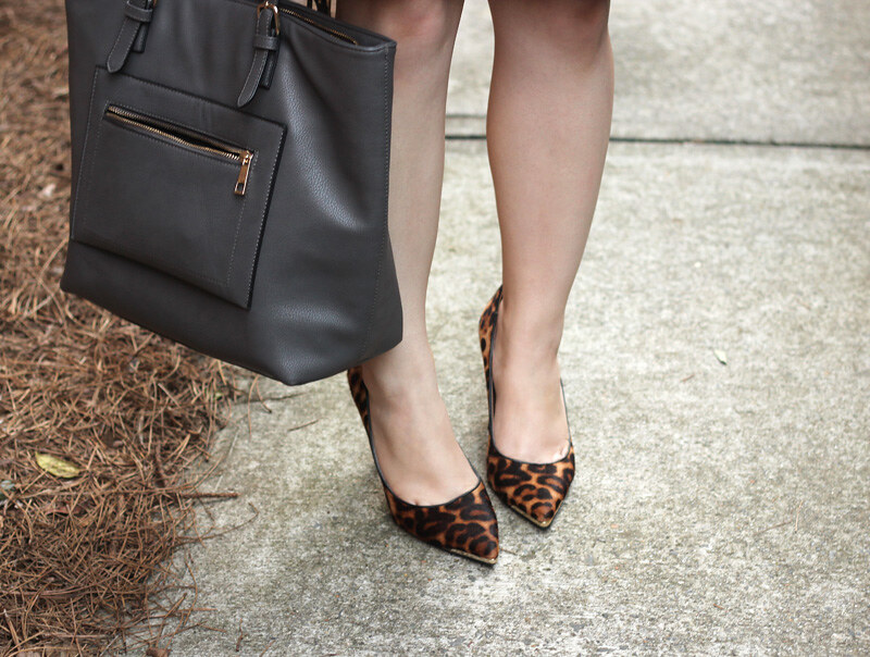 ba90eaf25ff2 ... Gray Tote Bag and Nine West Leopard Print Heels | by petitepanoply