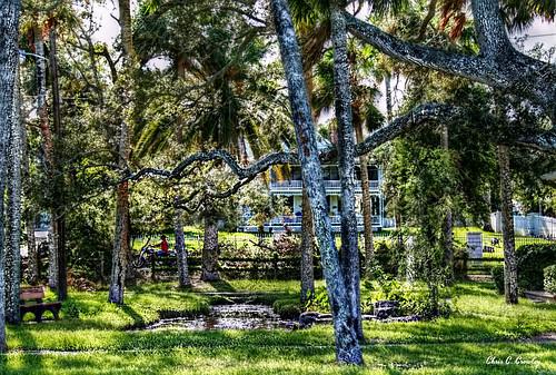 awalkinthepark amespark ormondbeachflorida park pond trees victorian motorcycle shadows light palmtrees florida scenic landscape