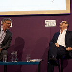 Nick Robinson with his Chair Andrew Franklin | Nick Robinson speaks about the recent General Election campaign at the Book Festival with his Chair Andrew Franklin © Helen Jones