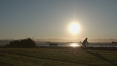sunset newzealand sun reflection bicycle silhouette bench evening cyclist outdoor seat nelson olympus richmond riding cycle waimea southisland inlet cycleway em5 nzflax microfourthirds duncancunningham ilobsterit duncanmc42