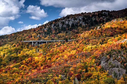 blueridgeparkway linncoveviaduct nc nationalscenicbyway northcarolina usa unitedstates autumncolor bridge cloud fallcolor mountain nationalpark orange park red rock rugged sky yellow