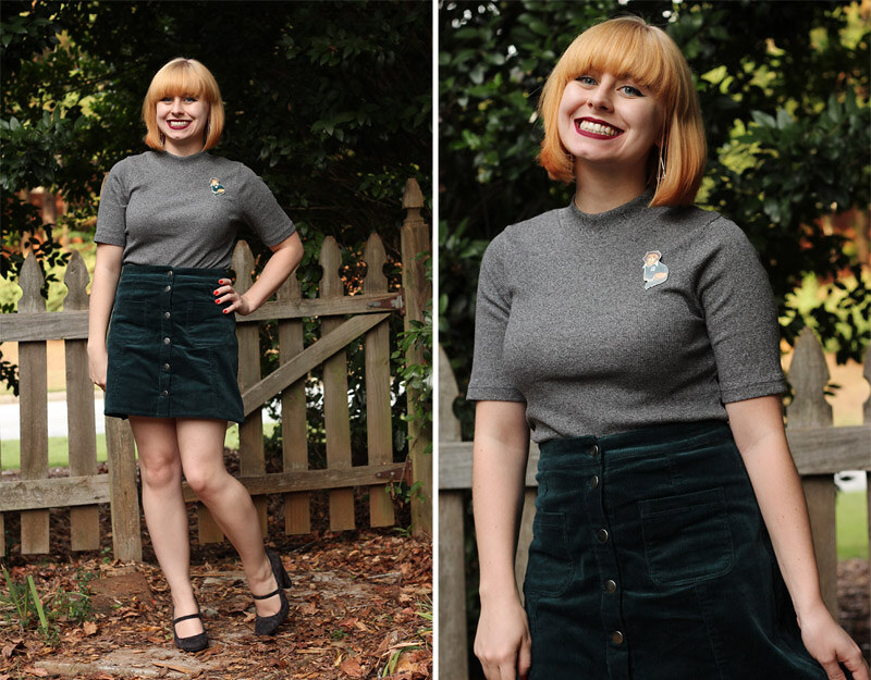 da2b9b66e7 ... Fall Outfit - Dark Green Corduroy Skirt, Short Sleeved Gray Top,  Novelty Cat Pin