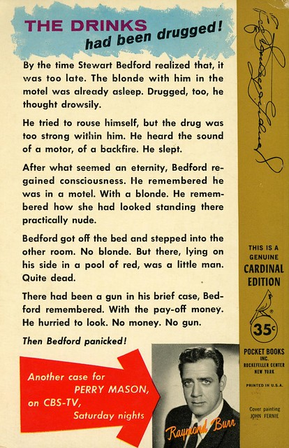 Cardinal Books C-337 - Erle Stanley Gardner - The Case of the Gilded Lily (back)