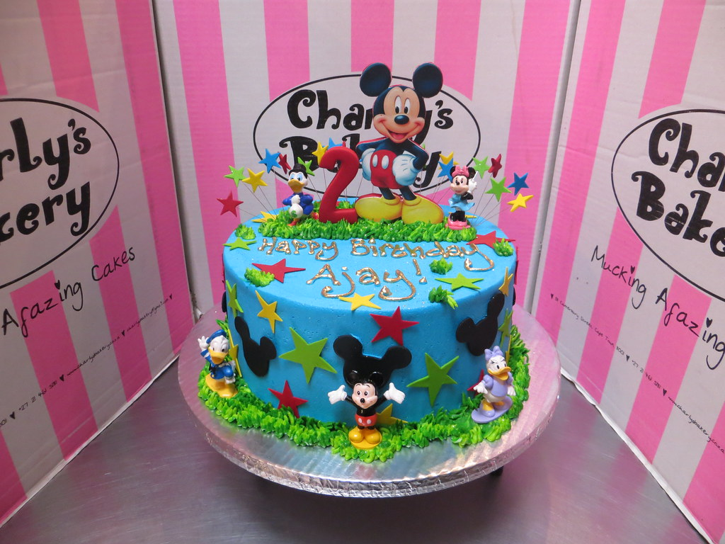 Cool Mickey Mouse Themed 2Nd Birthday Cake With Edible Mounted Flickr Funny Birthday Cards Online Overcheapnameinfo