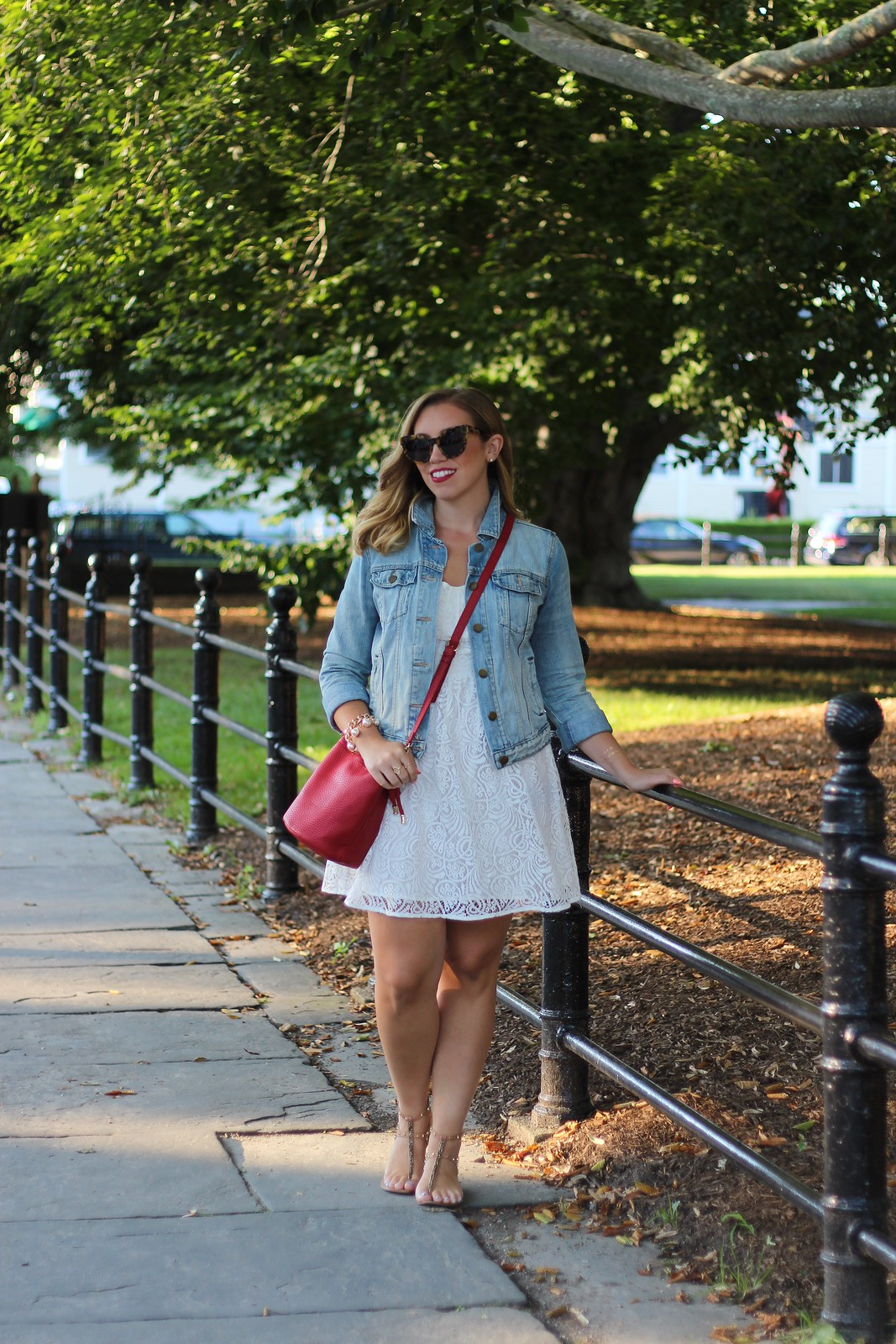 White After Labor Day | White Lace Dress & Jean Jacket | Red White Blue Fourth of July Outfit | July 4th Look | The Best Little White Dresses Under $50 for Summer | Summer Outfit Ideas | LWD Little White Dress | Casual Outfit Inspiration