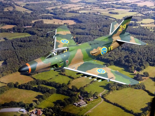 "1:72 Saab A 32A ""Lansen"", aircraft '29' (s/n 32209) of the Swedish Air Force Försökscentralen during camouflage trials; Malmslätt, Sweden, 1970 (Quasi-whif/Heller kit conversion) 