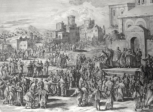 Luke in the Phillip Medhurst Collection 607 Peter preaches at Pentecost Acts 5:14 Luyken and son