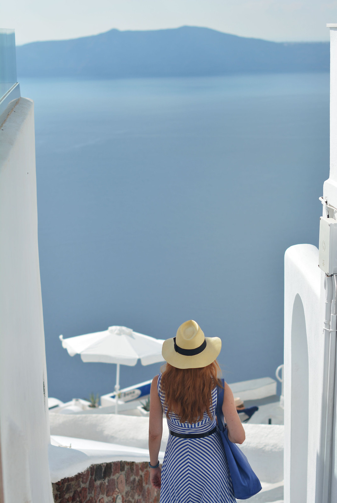 Blue and white striped dress in Santorini | Not Dressed As Lamb