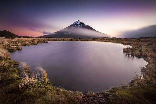 new longexposure sunset mountain lake zealand taranaki tarns