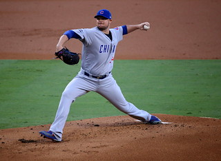 Cubs starter Jon Lester delivers a pitch during the first inning of #NLCS Game 5.   by apardavila