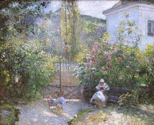 Camille Pissarro - Hermitage garden, maison rouge [1877]
