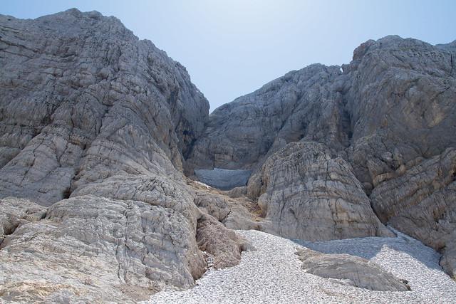 Canin's glacier and Iron road Julia. Ghiacciao del Canin e Ferrata Julia.