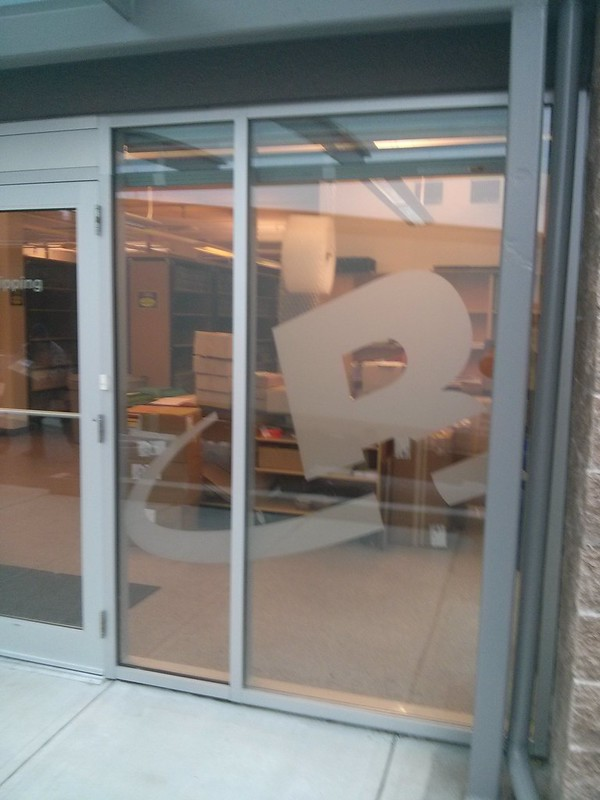 Corporate logo etch on entrance door
