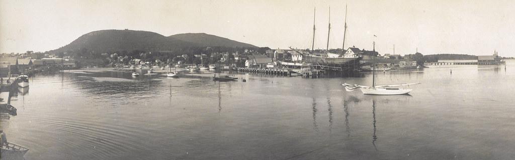 Camden harbor panorama circa 1900