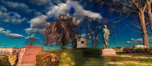 panorama sculpture sun newyork cemetery statue angel landscape daylight us unitedstates bright tomb gravestone valhalla 2015 kensicocemetery