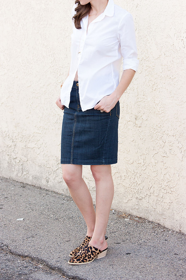 2be4c4f6c ... Denim Skirt, White Button Down Shirt, Cowboy Mules | by Jeans and a  Teacup