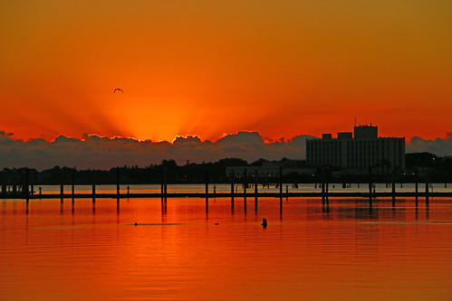 sky orange sun water sunrise river fire downtown florida stuart boardwalk firey stlucieriver