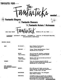 1968, October - Fantastiks Audition Notice | Barn Theatre ...