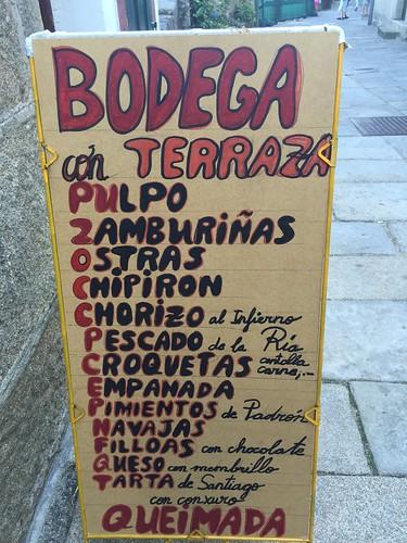 Cartel de un restaurante de Combarro (Galicia)