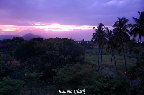 pink sunset sky orange india mountain mountains colour landscape evening landscapes nikon purple indian palmtree tamilnadu