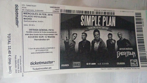 Simple Plan Entrada Ticket 2015.02.24 Taking One For The Team Tour Madrid. Palacio Vistalegre. | by Avengium
