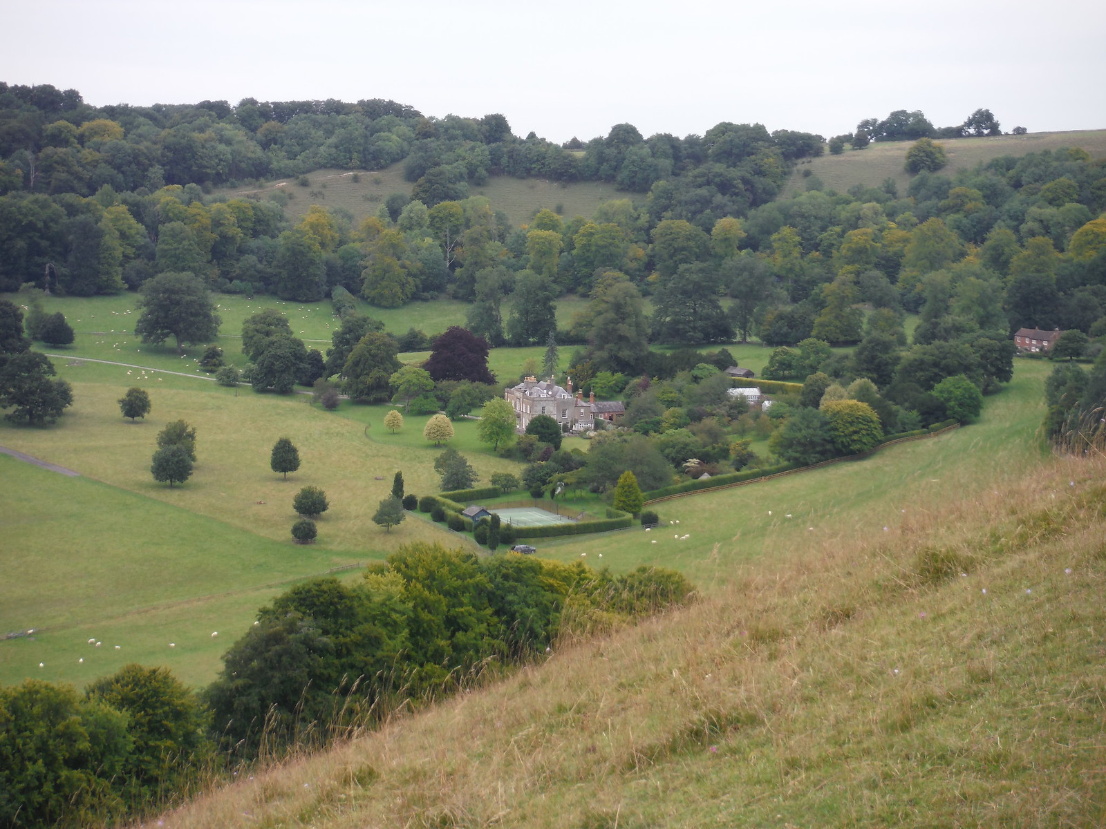 Rainscombe House, Oare Hill, from Giant's Grave SWC Walk 127 Pewsey Circular