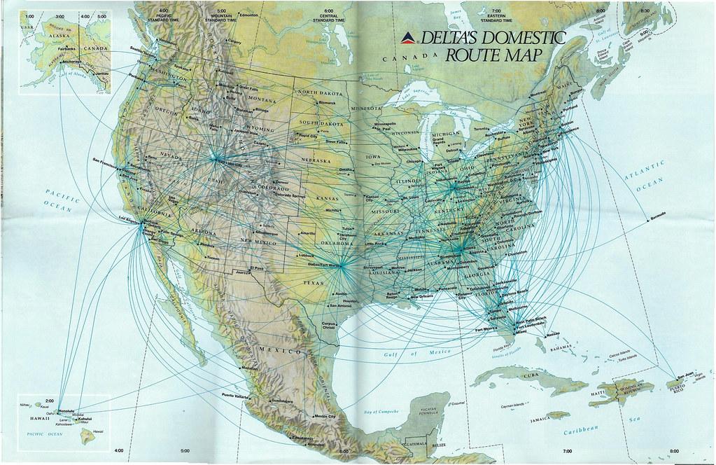 Delta domestic route map, 1991 | A Delta Air lines mainline … | Flickr