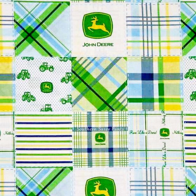 John Deere Madras Blue 100% Cotton