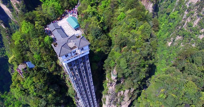 Zhangjiajie 0a Bailong Elevator tallest outdoor elevator
