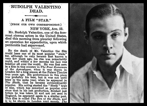 23rd August 1925 - Death of Rudolph Valentino | by Bradford Timeline