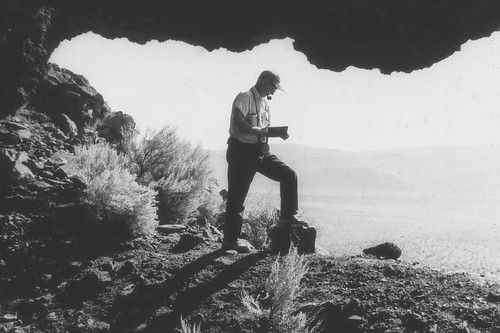 Luther Cressman at Paisley Caves archaeological site, Oregon (USA), 1966