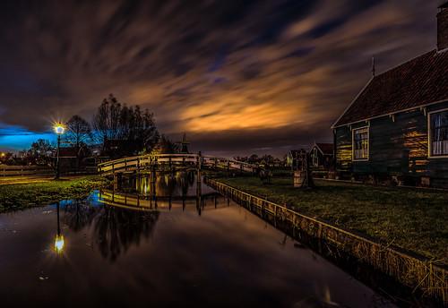 zaanseschans dutchlandscape windmill waterfront nightphotography longexposure sunset