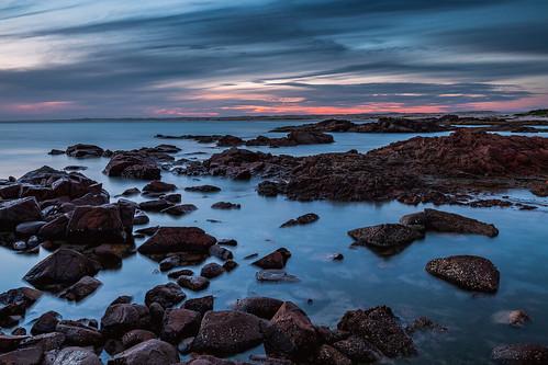 australia au newsouthwales nsw portstephens annabay birubipoint rocks rockpools ocean sea water clouds sunset beach seaside coast longexposure canoneos6d canonef1635mmf4lisusm