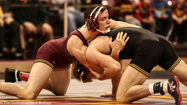 149: No. 4 Brandon Sorensen (Iowa) maj dec Brandon Kingsley (Minn), 13-2 | Minn 0 – Iowa 4