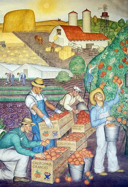Section of farming mural at Coit Tower