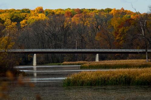 park bridge autumn trees water river landscape teleconverter tc20eii mohawkriver schenectadycounty nikkor70200mmf28gvr nikond7000 dajewski gdajewski