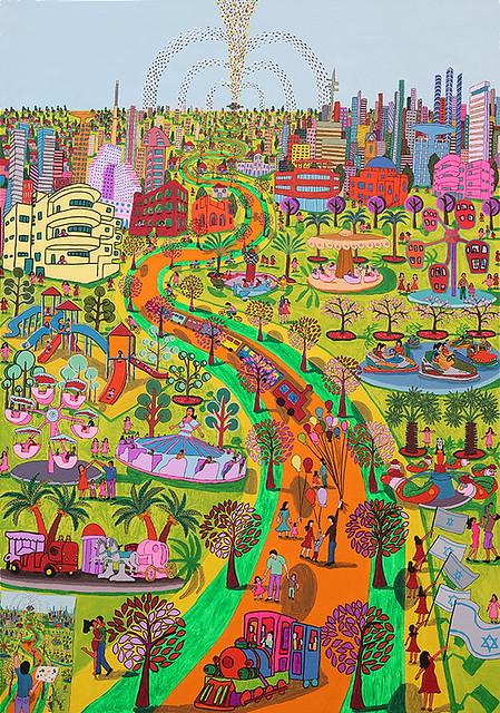 Naive Malerei in Tel Aviv Vergnügungspark Riesenrad Karussell Vergnügungspark Boxautos Vergnügungspark Dias von International Naive Kunst