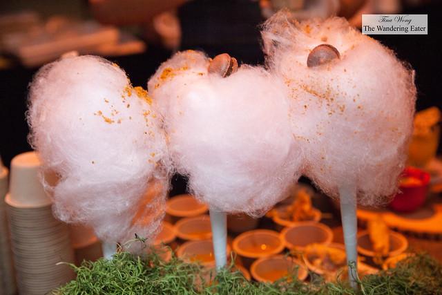Let That Tutu Swirl - cotton candy, pork dust, blood macaron - by Chef Nicole Gajadhar of Saxon+Parole