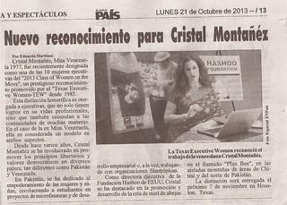 Nuevo Reconocimiento para Cristal Montanez_EL NUEVO PAIS_Venezuela (1)