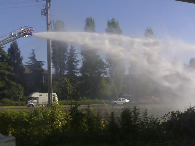 Firetruck Putting Out Fire Near Renfrew Station