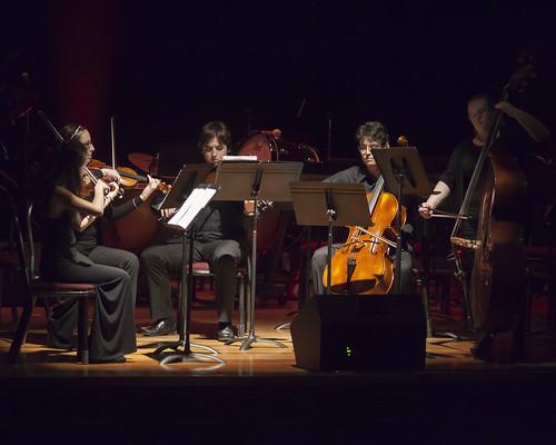 Chamber string ensemble performs an Anquez arrangement