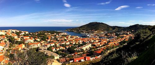 frankrike france panorama portvendres cotevermeille mediterranian village maritim vista