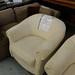 White fabric club chair